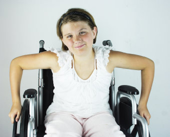 young patient sitting on wheelchair