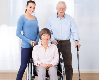 couple elderly with young woman